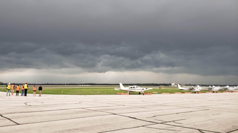 Cold front ground view from airport