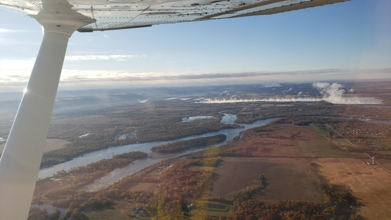 Cessna Skyhawk Flying Past Powerplant Co-Pilot View