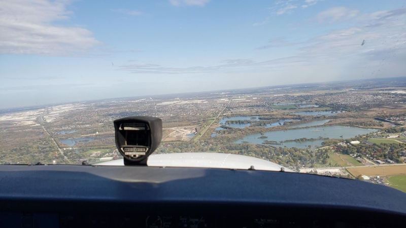Front cockpit view on final approach to land