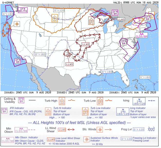 Screengrab of graphically issued airmets at sun aug 9th 2020