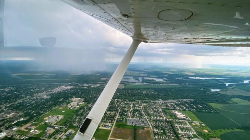 Cessna Skyhawk Cockpit View Of Rain Shower